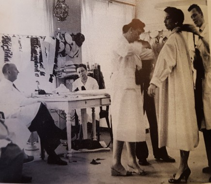 Dior directing a fitting in his studio, from Christian Dior and I, Christian Dior, 1957